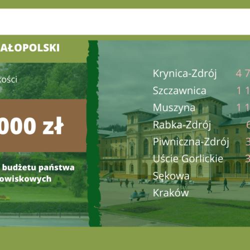 Ponad 8,4 mln zł z budżetu państwa dla uzdrowisk w Małopolsce